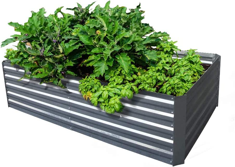 Galvanized Steel Raised Garden Bed Kit Extra Height Elevated Planter Box Steel Large Vegetable Flower Bed Kit (3.3 x 6.6 x 1.6 Ft, Zin)
