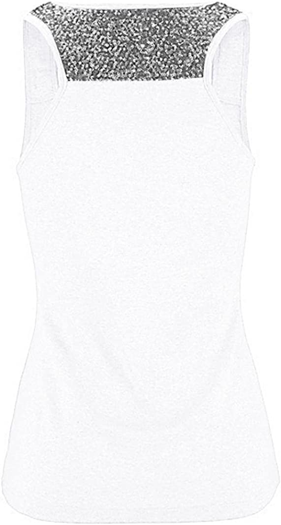 Kobay Damen /Ärmellos Pailletten Weste Tops Sommer Beil/äufig Bluse T-Shirt