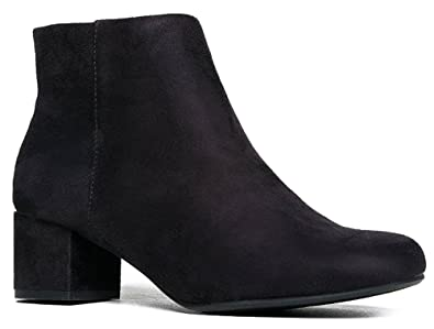 Amazon.com | Low Heel Ankle Boot - Casual Zip Up Bootie ...