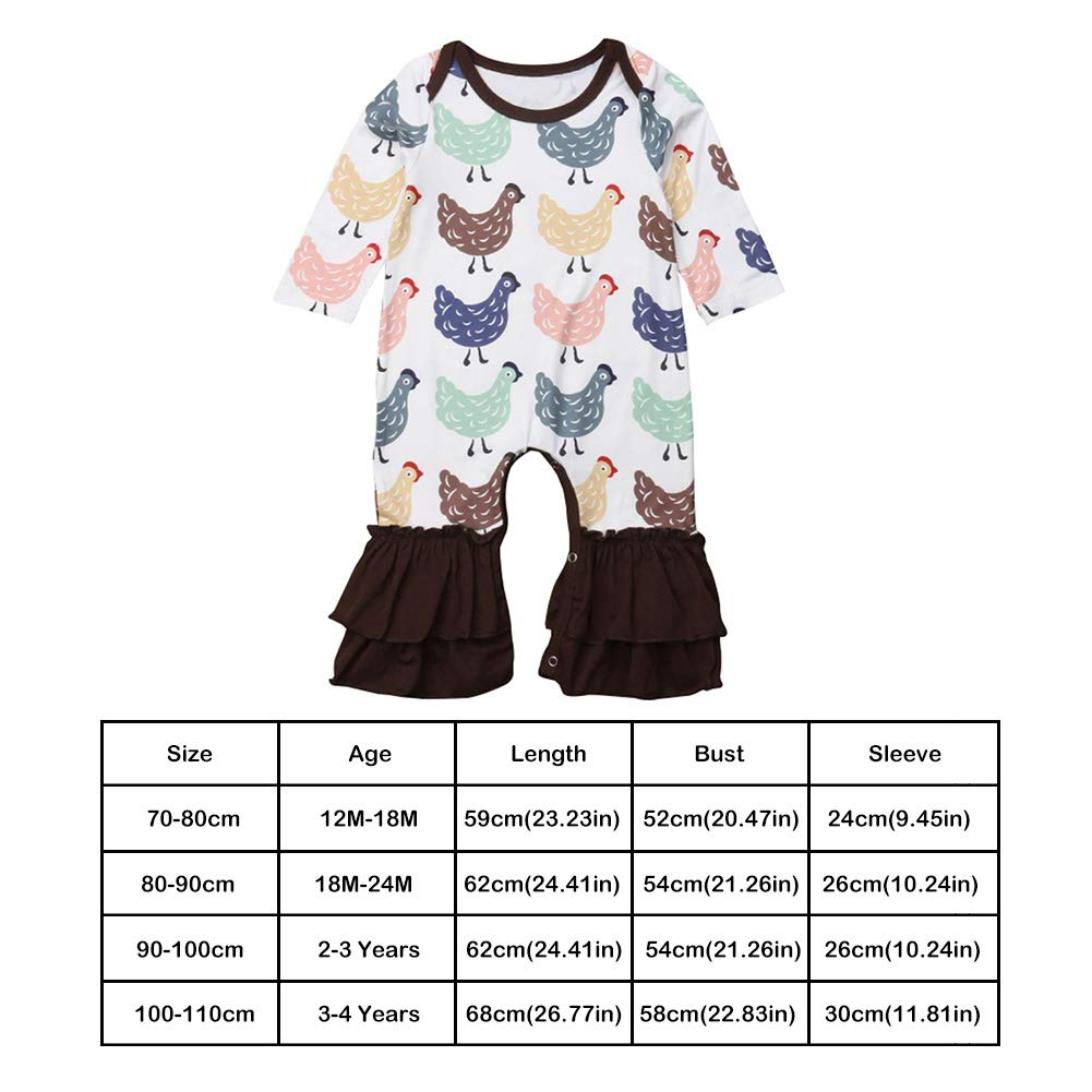 chinatera Little Girls Bell-Bottoms Rompers Pants Toddlers Floral Chick Print Stretchy Flare Jumpsuit Cotton