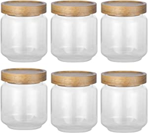 Airtight Food Storage Container Set - 6 PC Set Food Storage Jar, 16 OZ ,with Acacia Wood Seal Lid-Canister Used these for storing pasta, lentils, raisins, coffee - any dry food (16 oz)