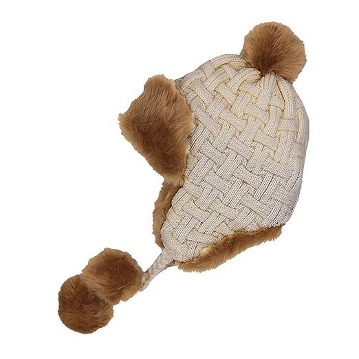 82891423 Women Trapper Hats Winter Warm Faux Fox Fur Bomber Hat Wool Knit Earflaps  Aviator Hairball Caps