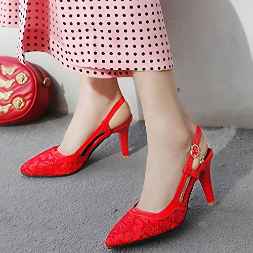 Coolcept Women Fashion Slingback Pumps Shoes Heels Red yRRr9