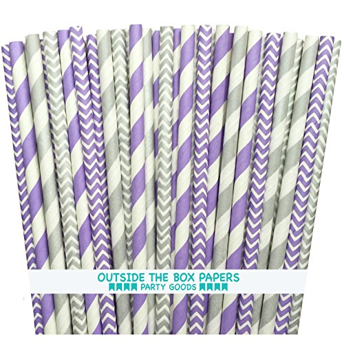 Outside the Box Papers Lavender/Lilac and Silver Stripe and Chevron Paper Straws 7.75 Inches 100 Pack Lilac, White (Lavender Paper Straws)