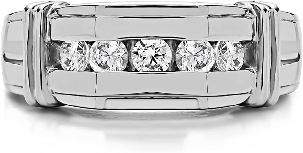 Size 3 to 15 in 1//4 Size Intervals 0.43Ct Sterling Silver Mens Wedding Ring Charles Colvard Moissanite