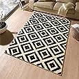Designer tapis en velours noir/crème/102332 losange, 120 x 170 cm
