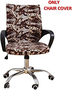 Deisy Dee Universal Computer Office Rotating Stretch Polyester Mid Back Function Chair Cover C111 (Leopard)