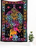 Handmade Cotton Bedspread Throw Bohemian Backdrop Medallion Yoga Meditation Picnic Garden Mandala Beach Throw Boho Gypsy Dorm Decor Living Room Hippie Hippy Elephant Tree Of Life Wall Hanging Tapestry