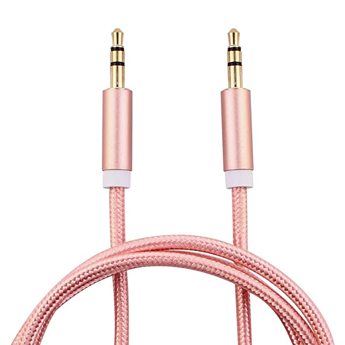 Amazon.com: eDealMax Nylon coche estéreos MP3 Tablet Macho a 3,5 mm Dorado Cable de extensión Audio Masculino Dia Larga del 1M 2pcs tono de oro rosa: ...