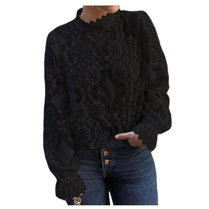 ebe40dc0fc2927 Women's Mock Neck Long Sleeve Floral Mesh Lace Sheer Crochet Blouse Top T- Shirt (