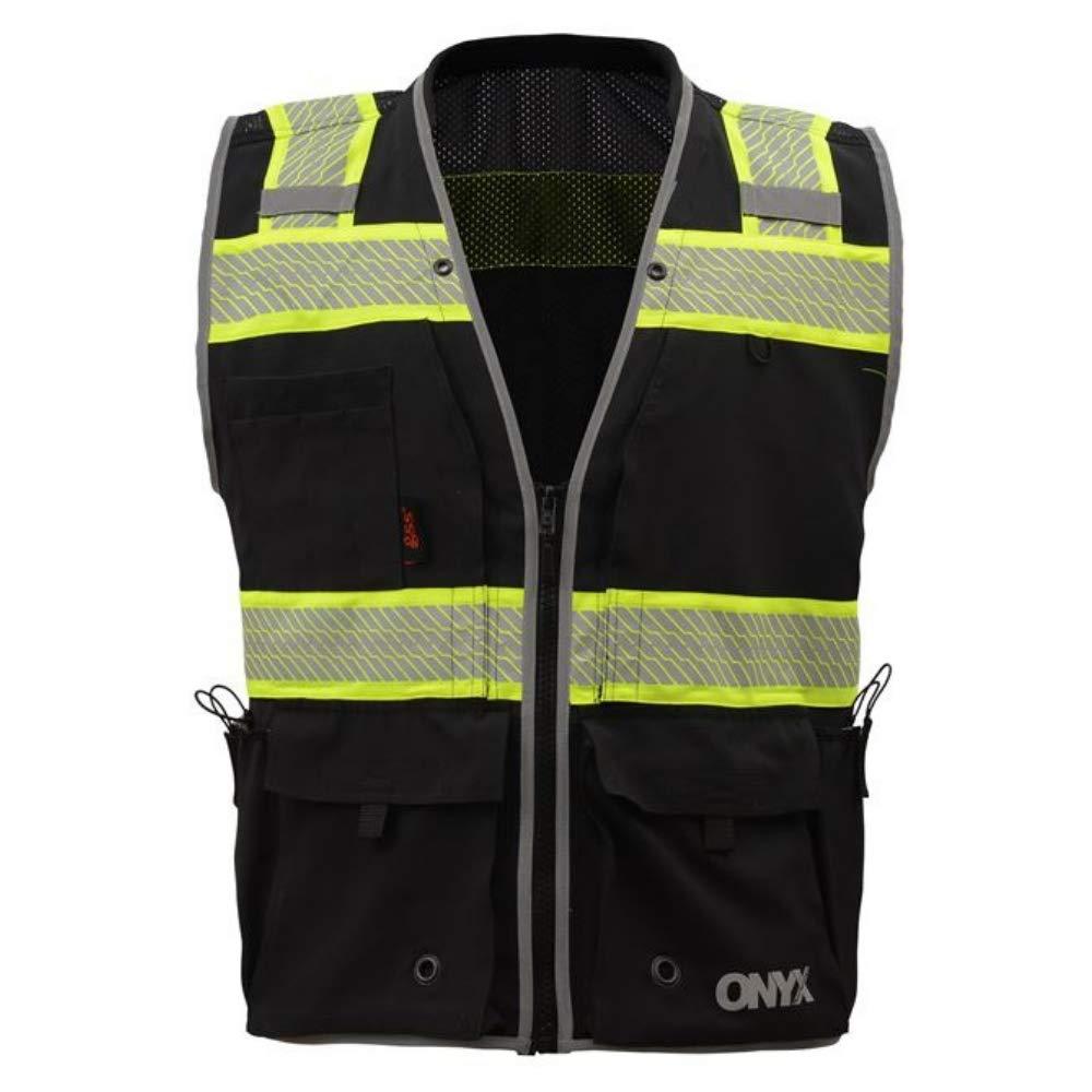 Brite Safety Onyx Surveyor's Safety Vest - Work Wear - High Visibility (Large, Black)