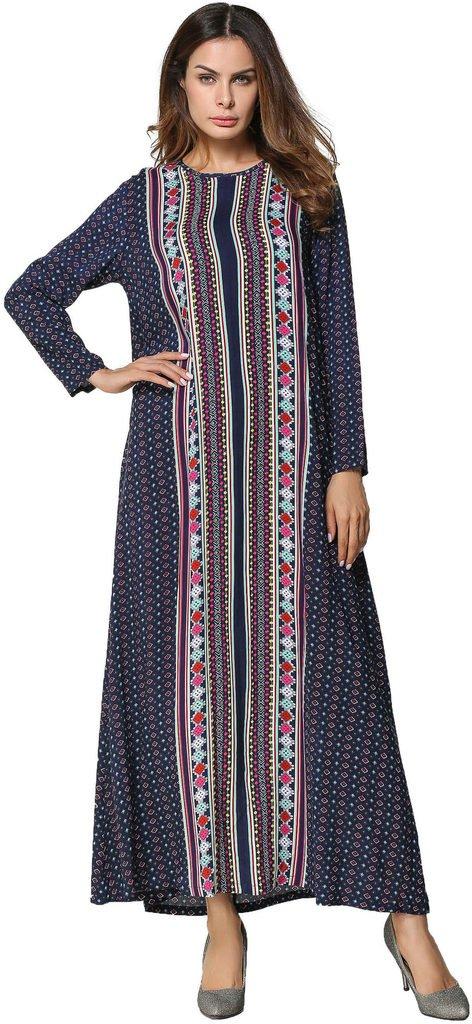 Ababalaya Women's Soft Loose O-Neck Floral Print Full Length Muslim Abaya Runway Dress,Navy Blue,XXL