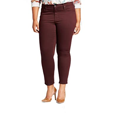 92186de6e9fca Ava   Viv Women s Mid Rise Plus Size Power Stretch Skinny Jeans - Black  Raspberry -