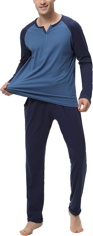 Hawiton Schlafanzug Herren lang Zweiteiliger Pyjamas Rundhals Baumwolle Nachtw/äsche Sleepwear f/ür M/änner