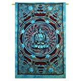 """Lord Buddha Tapestry Indian Cotton Wall Hanging Hippie Tapestries Decor 84"""" X 56"""""""