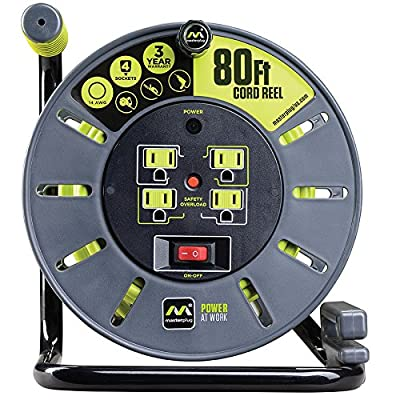 Masterplug 80ft Heavy Duty Extension Cord Open Reel with 4 120V/10 amp Integrated Outlets