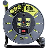 Masterplug 80ft Heavy Duty Extension Cord Open Reel with 4 120V / 10 amp Integrated Outlets