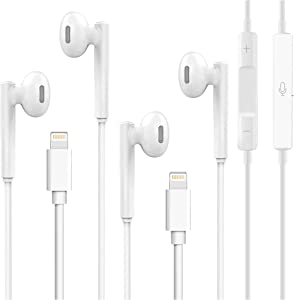 iPhone Earbuds, 2 Pack Wired Stereo Sound Headphones Earphones, with Built-in Mic & Volume Control, Compatible with iPhone 12/12 Pro/SE/11/11 Pro/XR/XS Max/X/8 Plus/7 Plus/ (White)