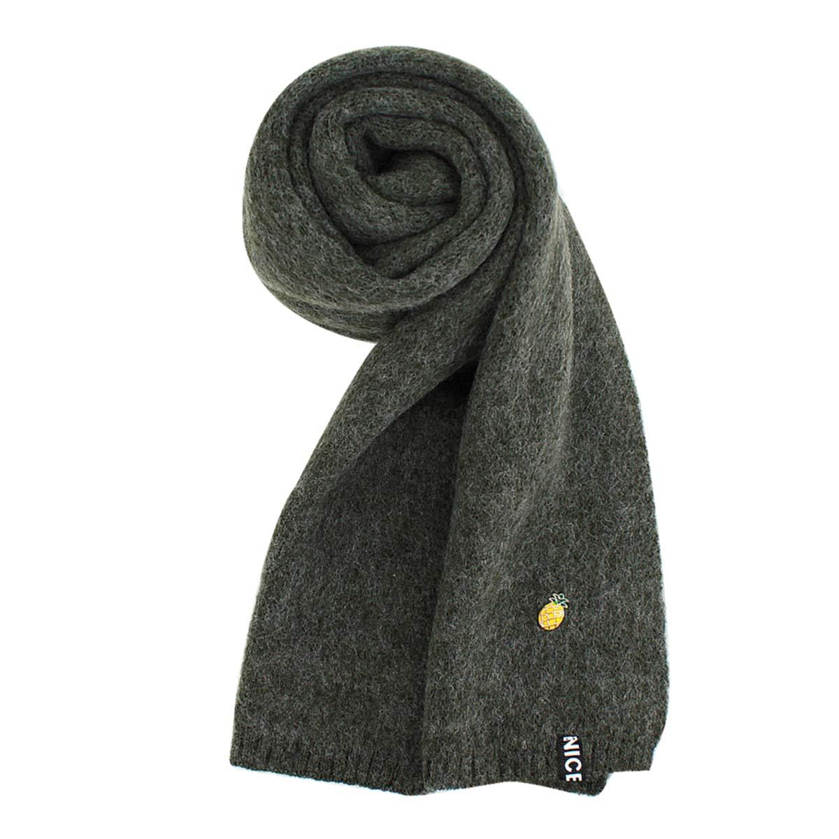 Monique Kids Pineapple Décor Woolen Yarn Knit Scarf Autumn Winter Warm Long Scarf Grey