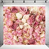 WOLADA 8x8ft Rose Floral Wall Wedding Photography Backdrop Art Fabric studio Pink Flowers Wall Photo Backdrop 9604
