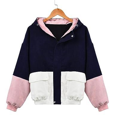 Desirca Women Long Sleeve Patchwork Sweater Corduroy Women Winter Sweater Oversize Hooded Sweaters Windbreaker Coat Overcoat