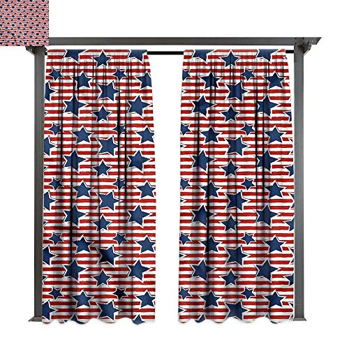 cobeDecor UV Protectant Indoor Outdoor Curtain Panel 4th of July Old Glory Design for Lawn & Garden, Water & Wind Proof W108 xL84