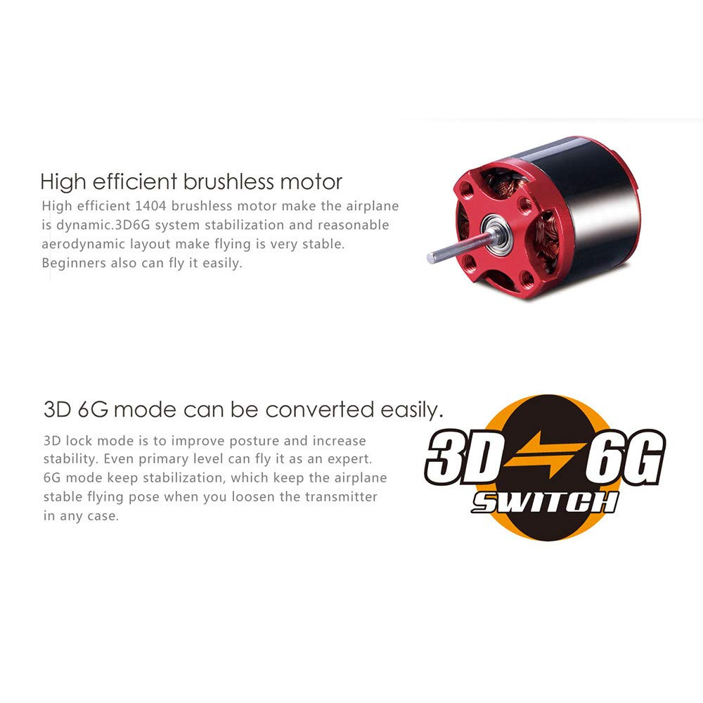 COLOR-LILIJ XK DHC-2 A600 4CH 2.4G Brushless Motor 3D6G RC Airplane 6 Axis Glider,High efficient brushless Motor,Suit for Beginner. by COLOR-LILIJ (Image #4)