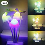iTimo 4pcs Color Changing Nursery Mushroom Night Light Plug In Led Wall Lamp With Dusk to Dawn Sensor For Kids Baby Sleeping