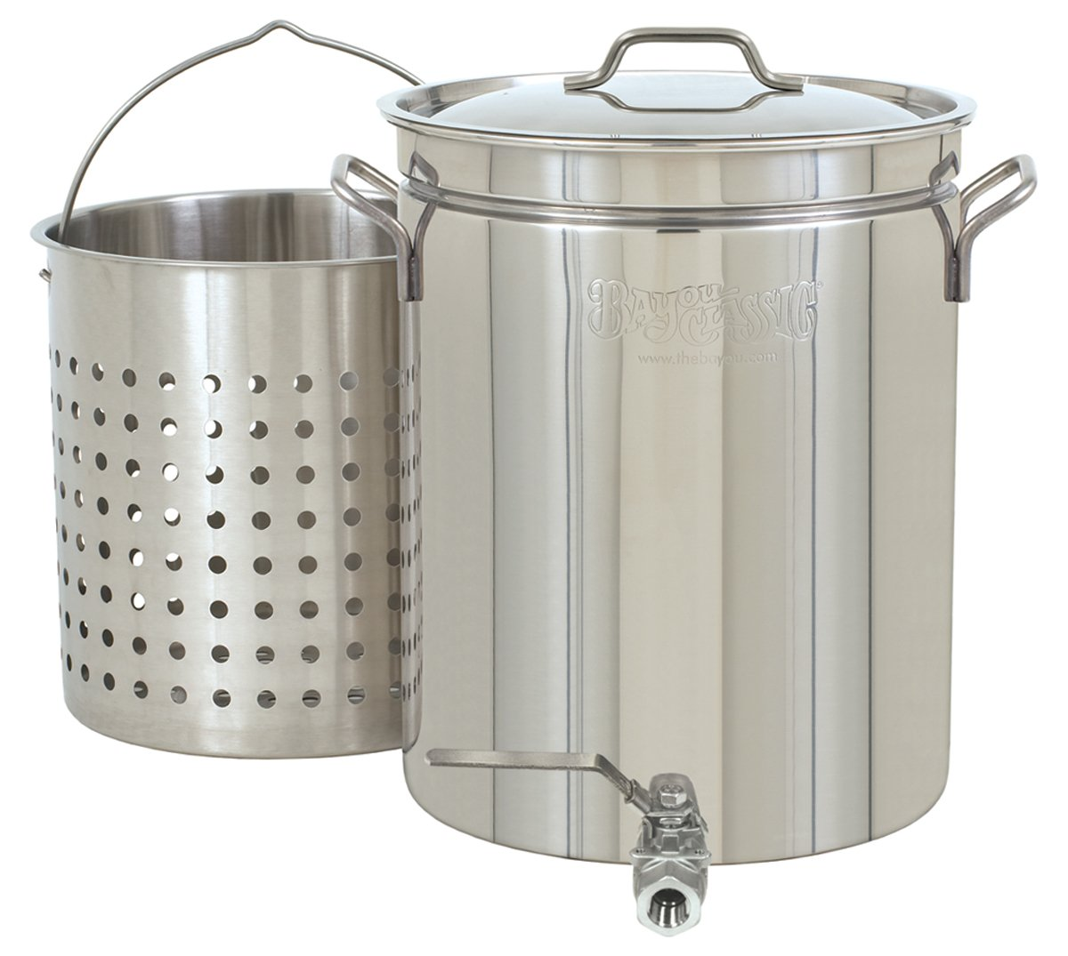 Bayou Classic 1140 Stainless 10-Gallon Steam Boil Stockpot with Spigot Basket and Vented Lid