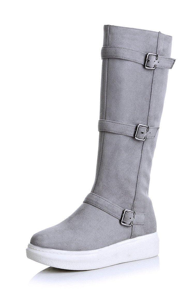 DYF Schuhe lange Stiefel hohe Rohr flach flach flach Gürtelschnalle Größe Farbe B 35 7e81d1