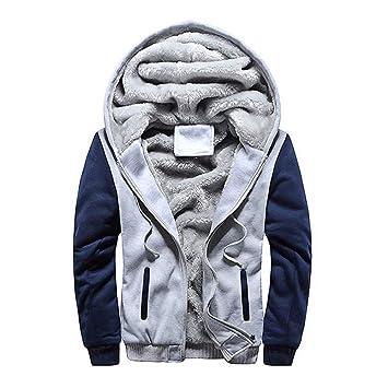 ZHRUI Abrigo para Hombre, Rebajas Hombre Sudadera con Capucha Invierno Cálido Vellón Cremallera Suéter Chaqueta