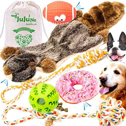 Dog Toys in Giftable Bag- Dog Toy Pack-6 Durable Toys with Treat Dispenser-Play, Train & Bond with Your Dog-Dog Toy Set for Large, Medium, Small Dogs