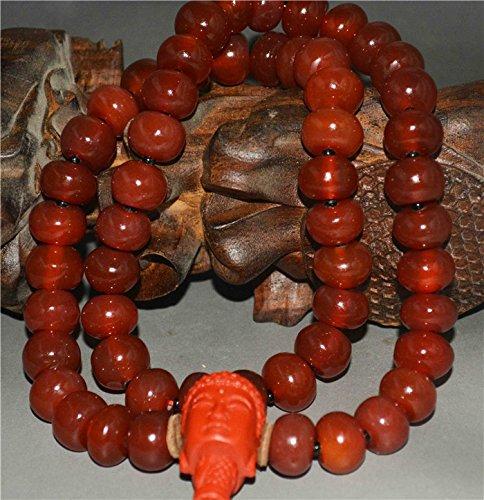 - Tibetan Nanhong Pema Raka Red Agate Carnelian Bracelet Necklace Chain Chinese Stone Nan Hong Tibet Rosary Misbaha Buddhist Strand of Beads Prayer Beads Old Antique Mala Worry Barrel