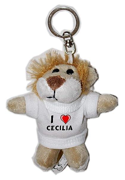 León de peluche (llavero) con Amo Cecilia en la camiseta (nombre de pila/apellido/apodo)