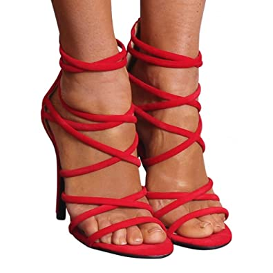 b571424357e8 Ladies Bright Red Faux Suede Strappy Sandals Stiletto High Heels Peep Toes  UK8 EURO41
