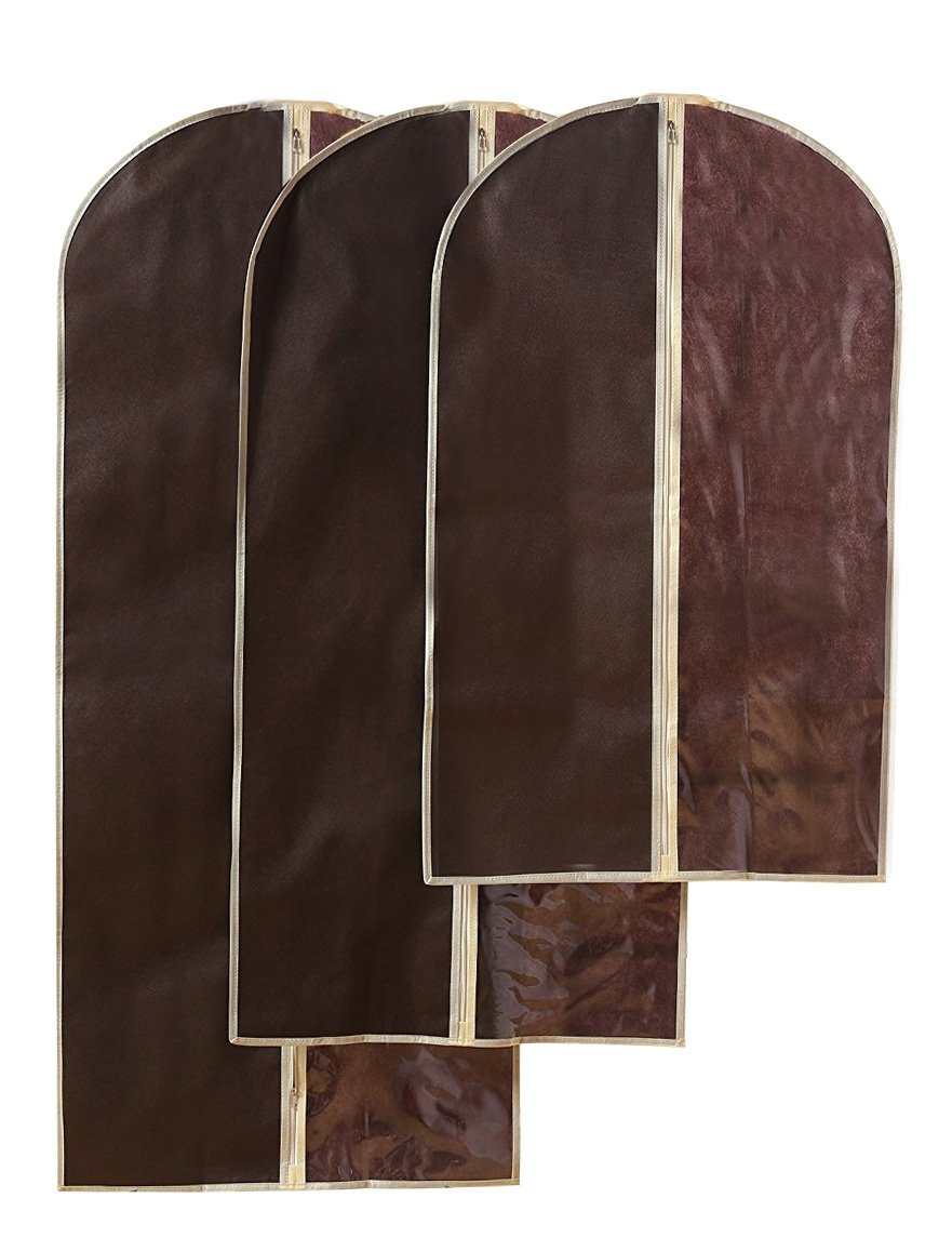 Hanging Garment Bag - Travel Zippered Storage Bag - For Suits, Dresses, Gowns, Delicate Clothing, More -Brown - 3 Pack - Small, Medium, Large