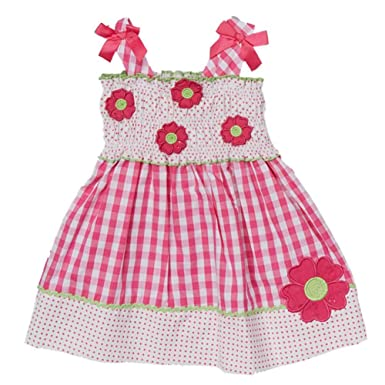 b554306420c Nannette Infant Toddler Girls Pink Gingham Dress Sleeveless Flower Sundress  12m