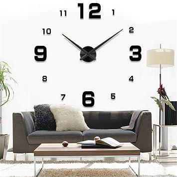 Yosoo diy 3d horloge murale design géante grande taille moderne ronde avec chiffres pour décoration salon