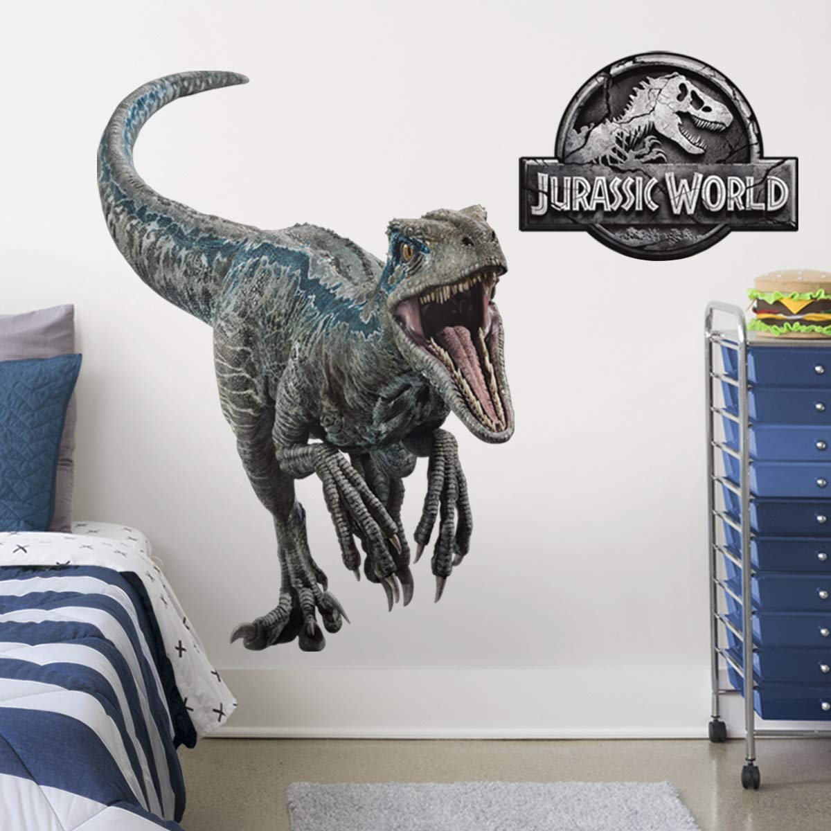 FATHEAD Jurassic World Velociraptor Blue Life-Size Peel and Stick Vinyl Wall Decal