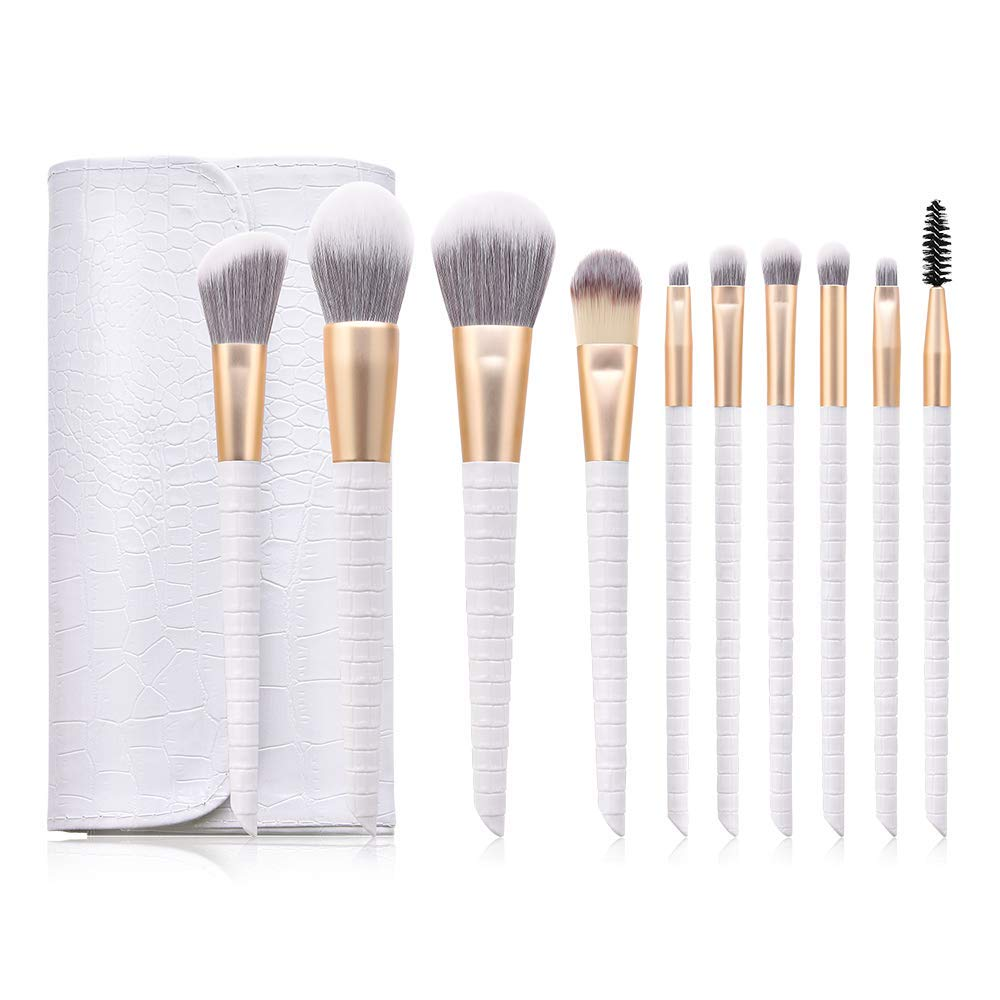 Professional Makeup Brushes - Highend Makeup Brushes Premium Synthetic Makeup Brush set Foundation Blush Contour Concealer Blending Powder Liquid Cream Face Eyeshadow Brushes Kit (White)