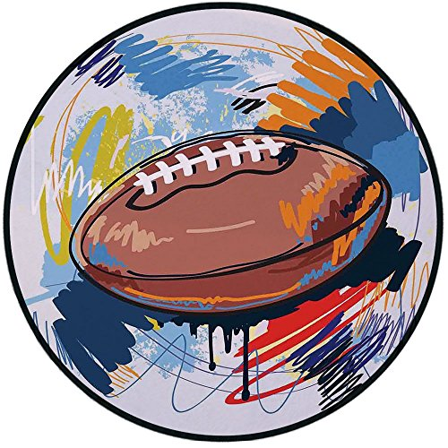 - Printing Round Rug,Sports,Diamond Shape Rugby Ball Sketch with Colorful Doodles Professional Equipment League Mat Non-Slip Soft Entrance Mat Door Floor Rug Area Rug For Chair Living Room,Multicolor