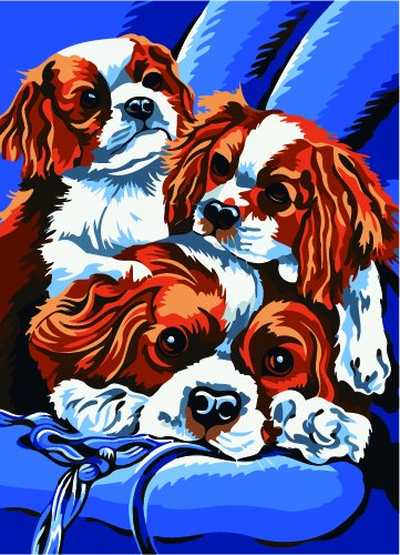 Prime Leader Wooden Framed Diy Oil Painting, Paint by Number Kit 16x20 inch Three dogs