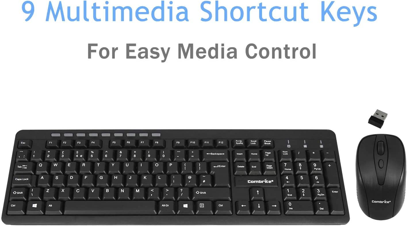 English UK Layout Combrite Wireless Keyboard And Mouse Set Ergonomic 2.4G Cordless Slim Multi-Media Shortcut Keyboard Comfort Wireless Optical Mouse Adjustable DPI