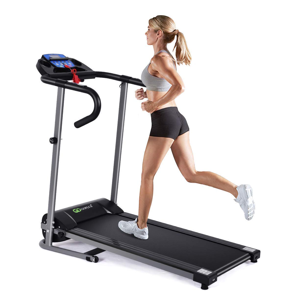 Goplus 1100W Electric Folding Treadmill with LCD Display and Pad Holder, Compact Running Jogging Machine for Home