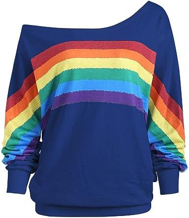 Lenfesh Sudadera de Estampado arcoíris Mujer Camisetas Tops Manga Larga sin Hombros para Mujer Sudadera Casual de otoño Invierno: Amazon.es: Ropa y accesorios