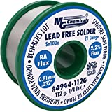 "MG Chemicals Sn100e, 99.5% Tin, 0.5% Copper, Trace of Cobalt, Lead Free Solder, RA Flux, 0.81mm.032"" Dia"