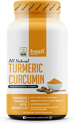 Organic Turmeric Curcumin with Added Boswellia Bioperine for Potent Joint Inflammation Support – Best Natural Joint Pain Relief – 120 Capsules – Organic – Non GMO – NO Soy Gluten – Vegan Friendly