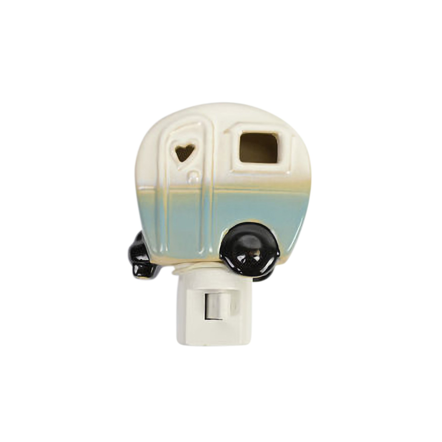 Drew Derose Glossy Blue Whimsical Camper RV Heart 7 x 4 Ceramic Night Light