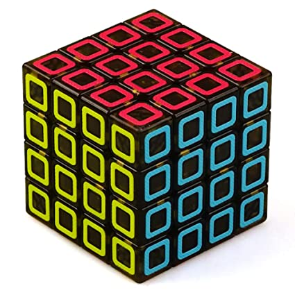 Alician 4x4 Black Translucent Bottom Magic Cube Kids Stress Reliver Puzzle Toy