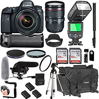 Canon EOS 6D Mark II With 24-105mm f/4 L IS II USM Lens + 128GB Memory + Canon Deluxe Camera Bag + Pro Battery Bundle + Power Grip + Microphone + TTL Speed Light + Pro Filters,(23pc Bundle) from Canon